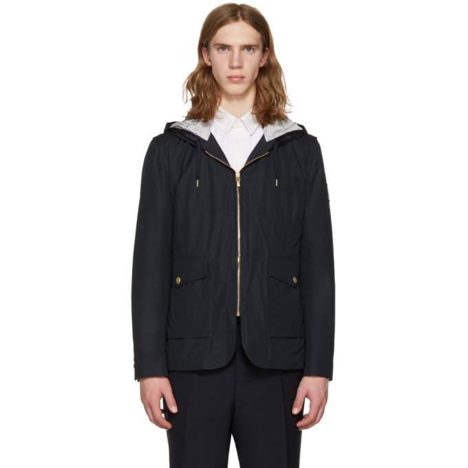 Moncler Gamme Bleu Navy Down Hooded Jacket
