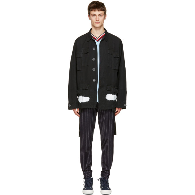 OFF-WHITE BLACK DIAGONAL SPRAY FIELD JACKET