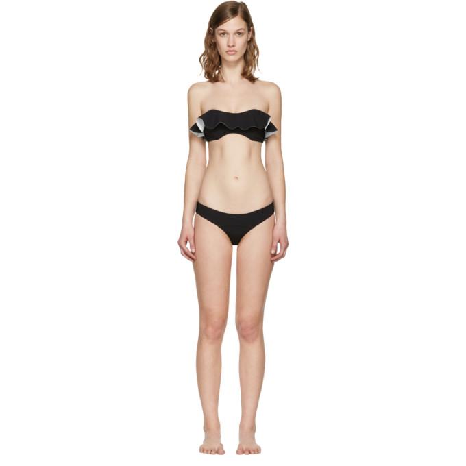 9ea86c9a8f25 Lisa Marie Fernandez Black Natalie Flounce Bikini In Black White Bonded