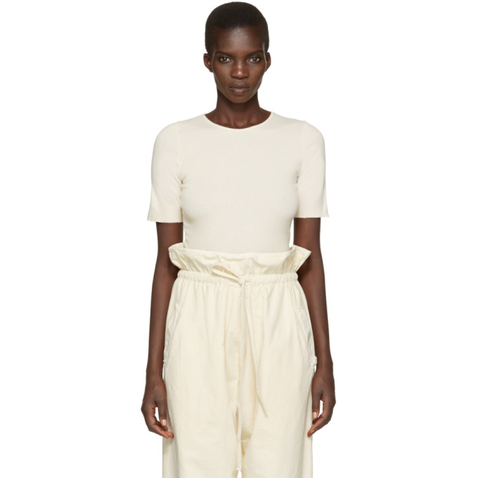 Image of Lauren Manoogian Off-White Cotton & Cashmere T-Shirt