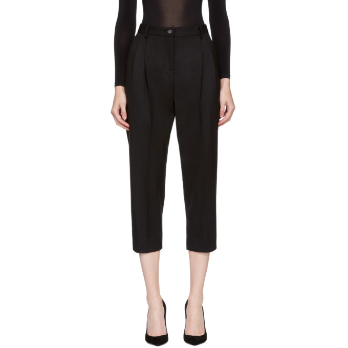 DOLCE & GABBANA DOLCE AND GABBANA BLACK CROPPED TROUSERS