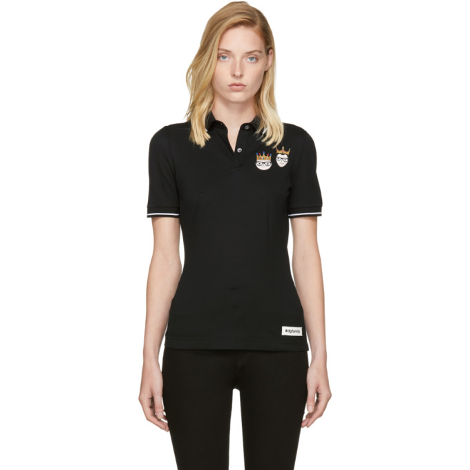 DOLCE & GABBANA DOLCE AND GABBANA BLACK CROWNED DESIGNERS POLO