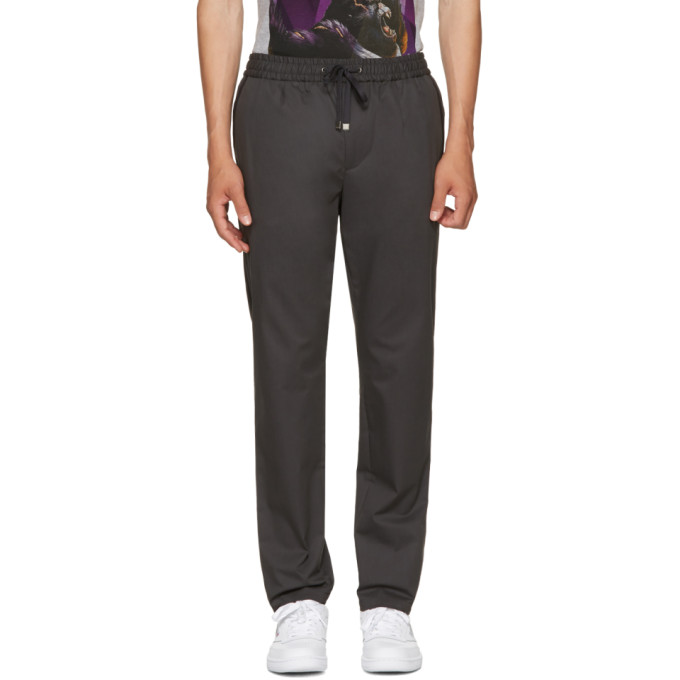 DOLCE & GABBANA DOLCE AND GABBANA GREY TAPERED DRAWSTRING TROUSERS