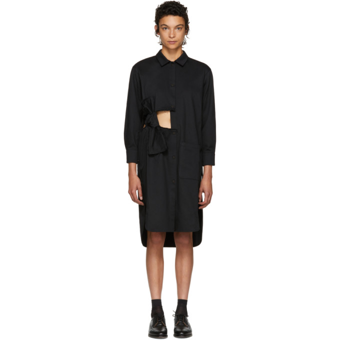 Image of Roberts | Wood Black Cut-Out Bows Overshirt