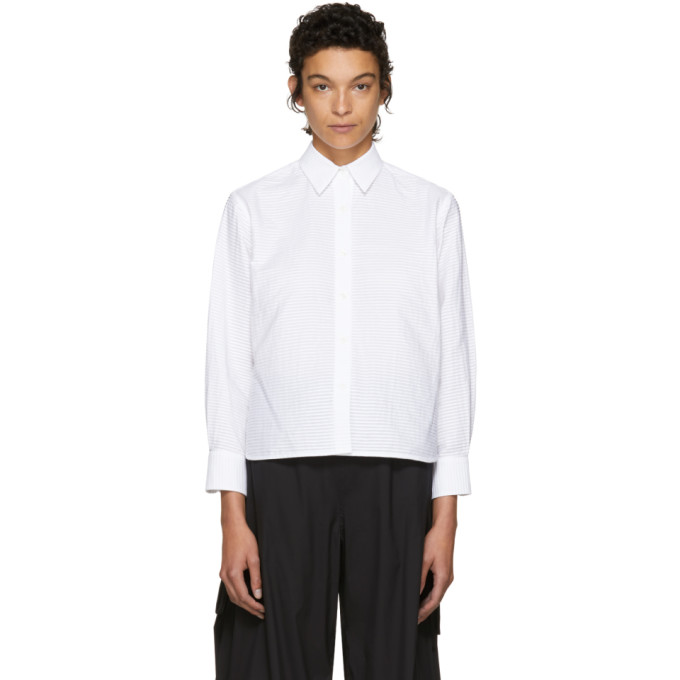 Image of Roberts | Wood White Pleated Short Shirt