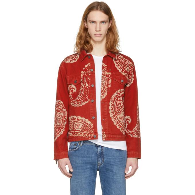 424 male 424 red paisley denim trucker jacket