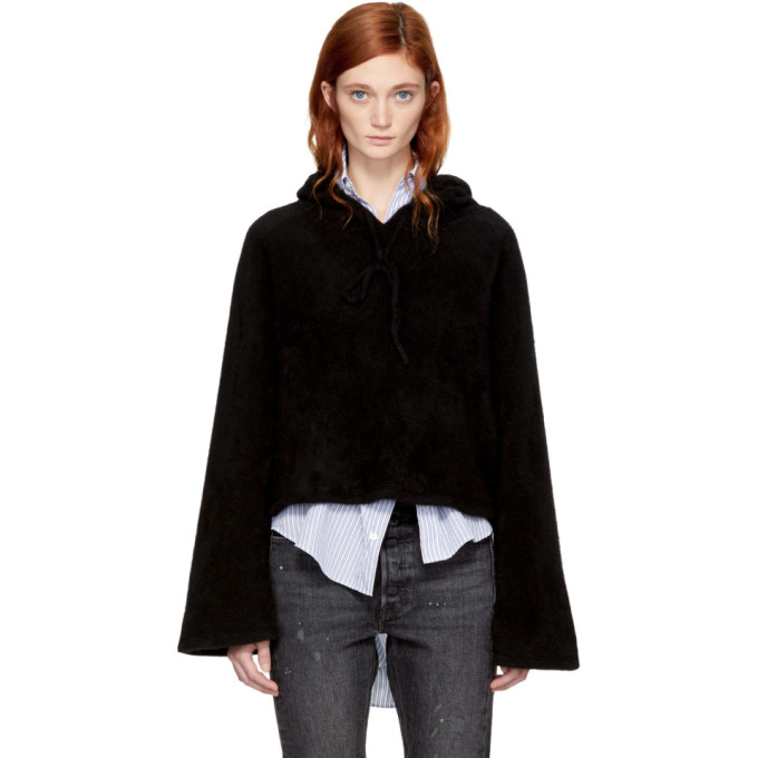 Image of The Elder Statesman Black Cropped Cashmere Hoodie