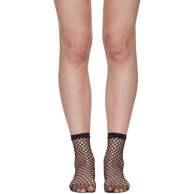 Image of Wolford Black Fishnet Short Socks