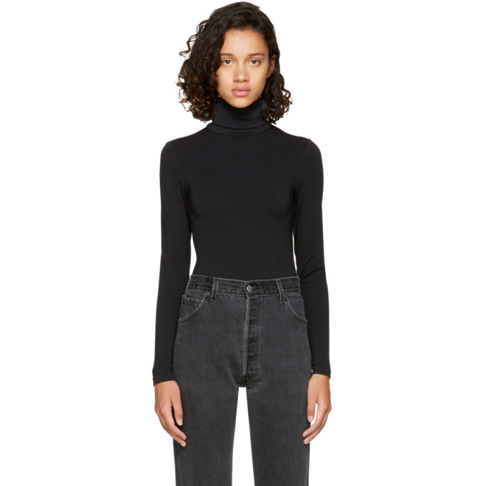 Image of Wolford Black Colorado String Turtleneck Bodysuit
