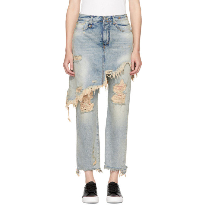 R13 Blue Double Classic Shredded Hem Jeans