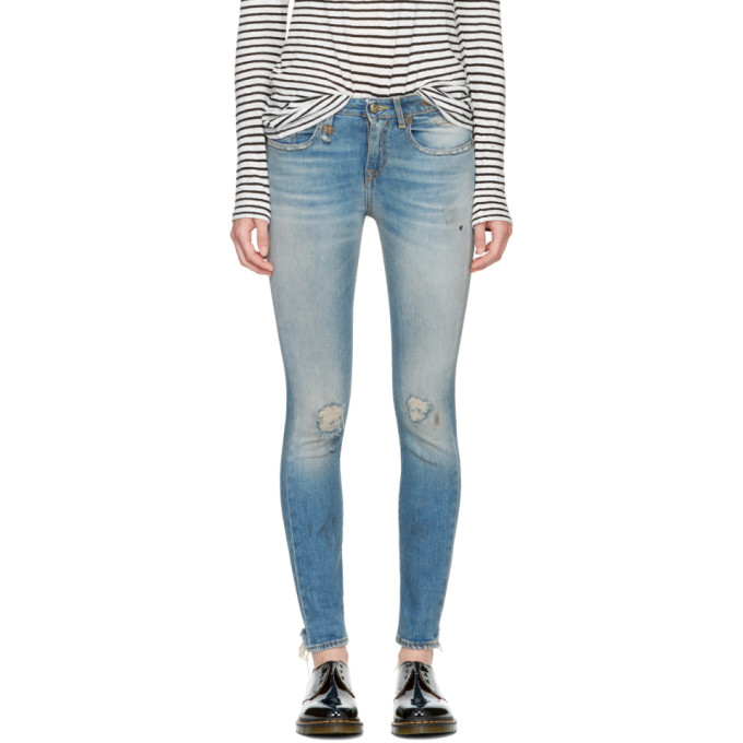 R13 Blue Alison Skinny Crop Jeans