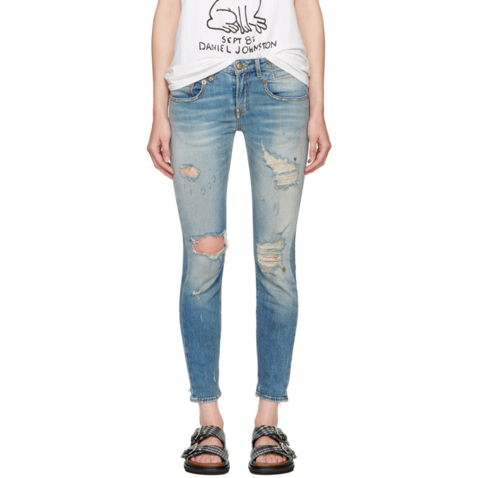 R13 Blue Shredded Boy Skinny Jeans