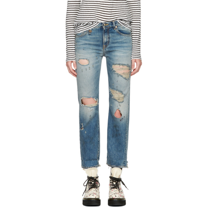 R13 Blue Shredded Bowie Jeans