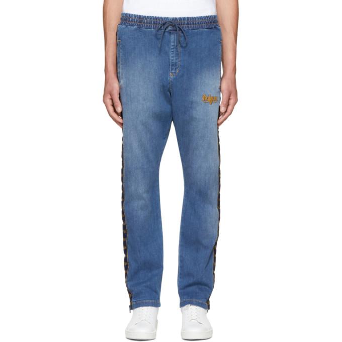 Image of Wheir Bobson Blue Denim Side Line Track Pants
