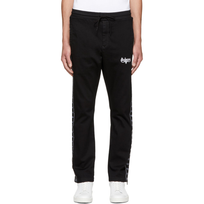 Image of Wheir Bobson Black Denim Side Line Track Pants