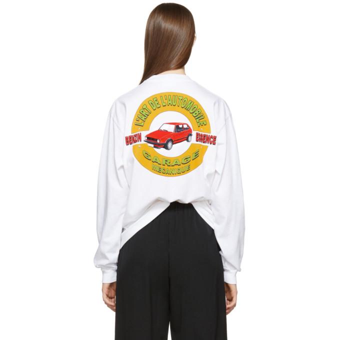 Image of KAR / L'Art de L'Automobile White Long Sleeve Classic Garage T-Shirt