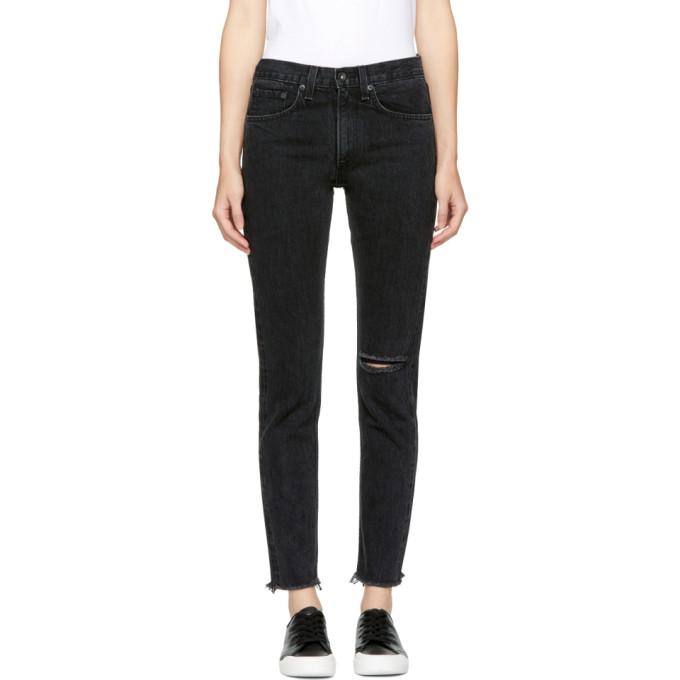 Rag & Bone Black High Rise Skinny Jeans