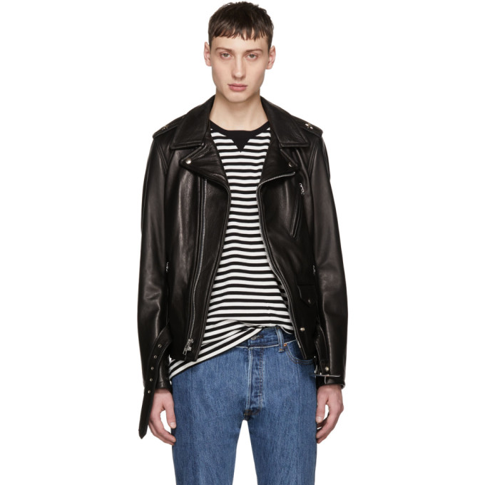 Image of Schott Black Leather Perfecto Jacket