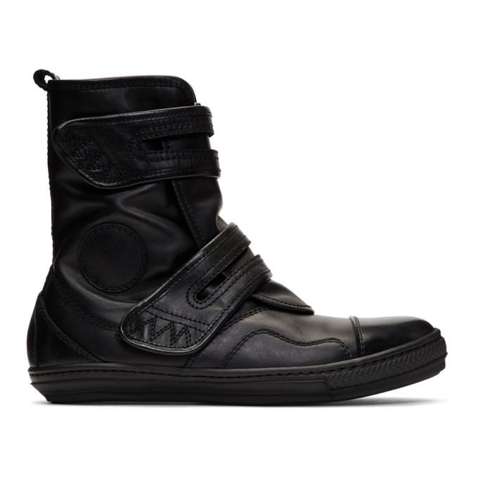 Image of Diesel Black Gold Black Leather High-Top Sneakers