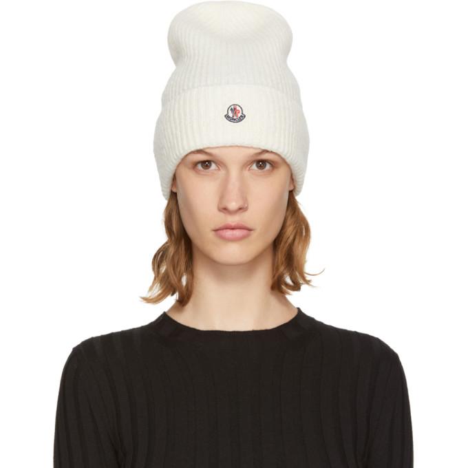 b3987ecd7473a Moncler White Logo Beanie