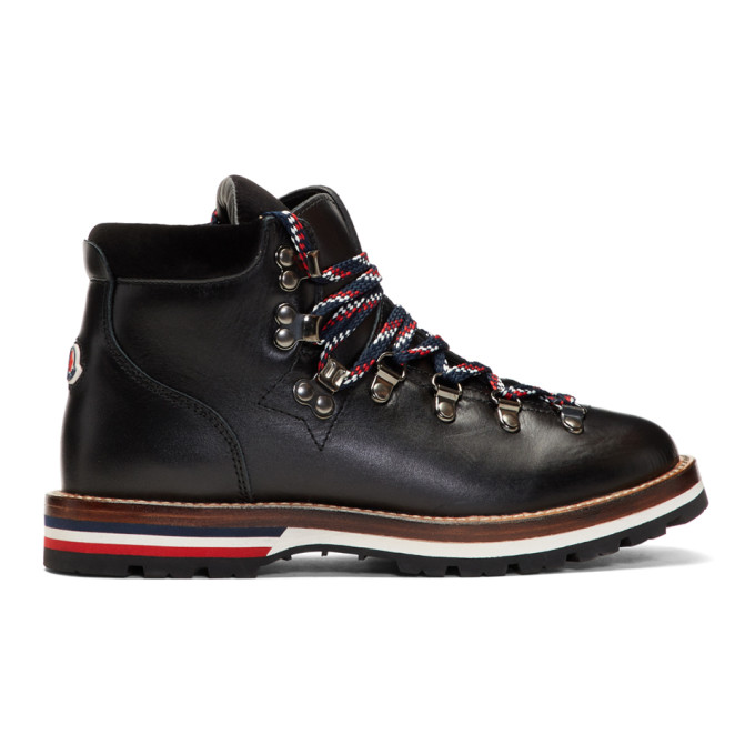 Moncler Black Leahter & Velvet Hiking Boots