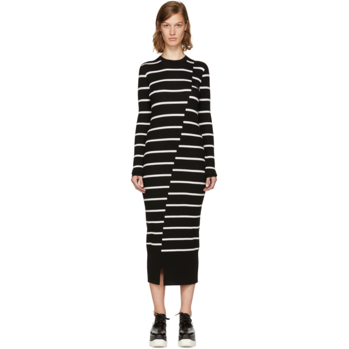 McQ Alexander McQueen Black Distort Stripe Dress