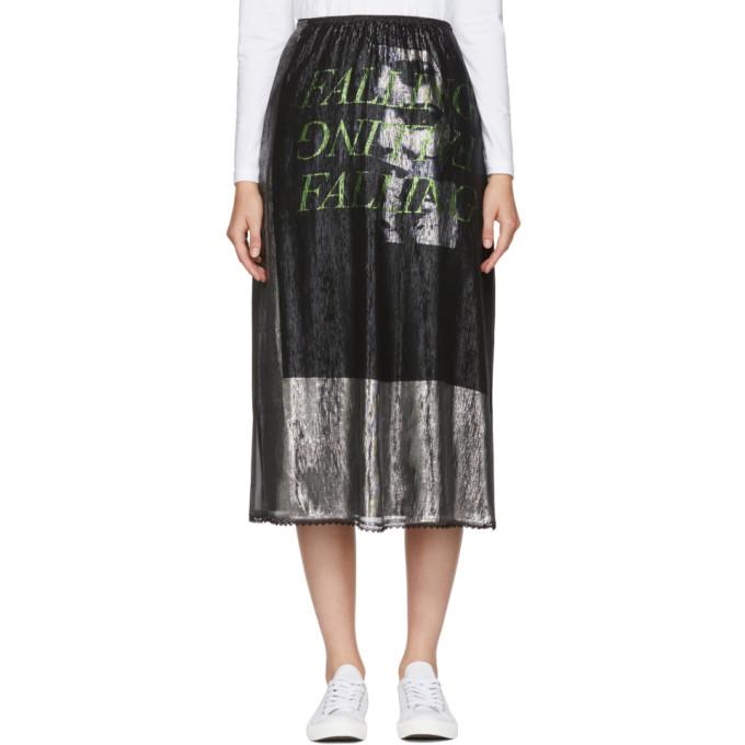 McQ Alexander McQueen Silver Lurex 'Falling' Skirt