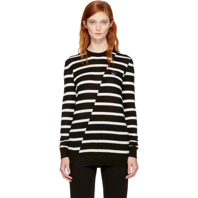 McQ Alexander McQueen Black & White Distort Stripe Swallow Badge Sweater