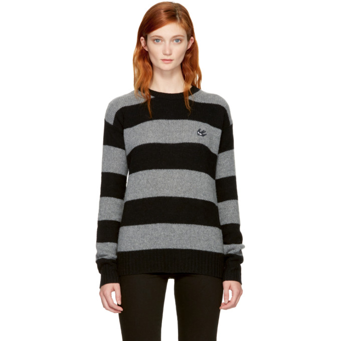 McQ Alexander McQueen Grey & Black Punk Stripe Swallow Badge Sweater