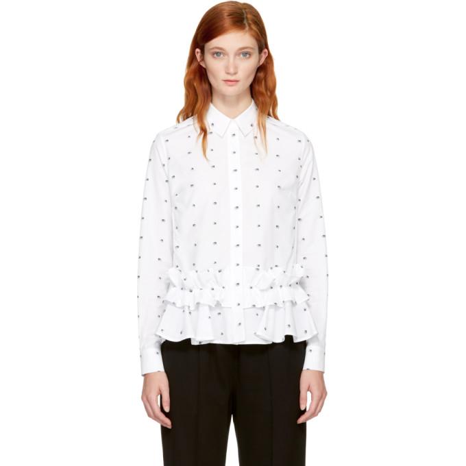 McQ Alexander McQueen White Ruffled Swallows Shirt