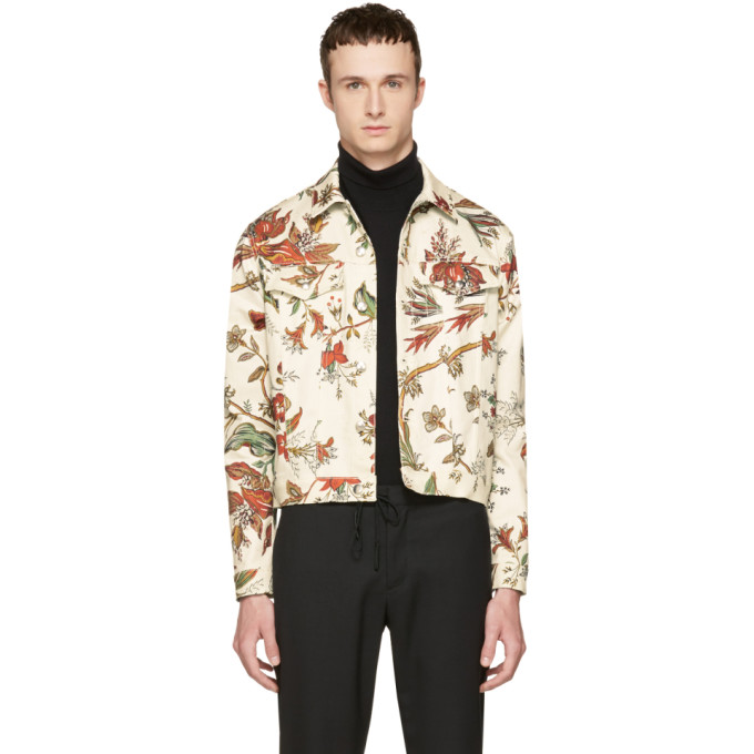 Image of McQ Alexander McQueen Beige Denim Floral Billy Jacket