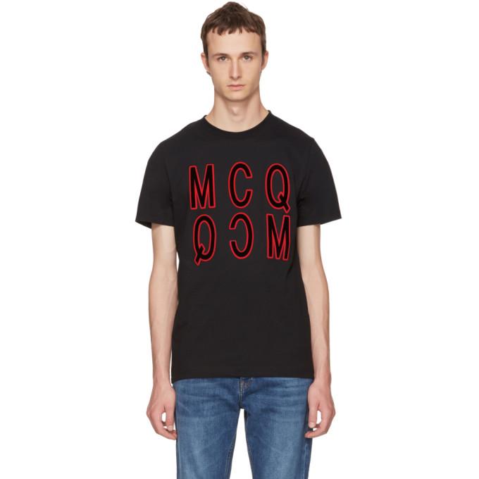 McQ Alexander McQueen Black Debossed Logo T-Shirt