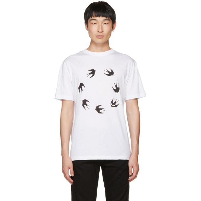 McQ Alexander McQueen White Dropped Shoulder Swallow T-Shirt