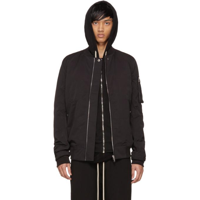 Image of Rick Owens Drkshdw Black Cotton & Nylon Flight Jacket