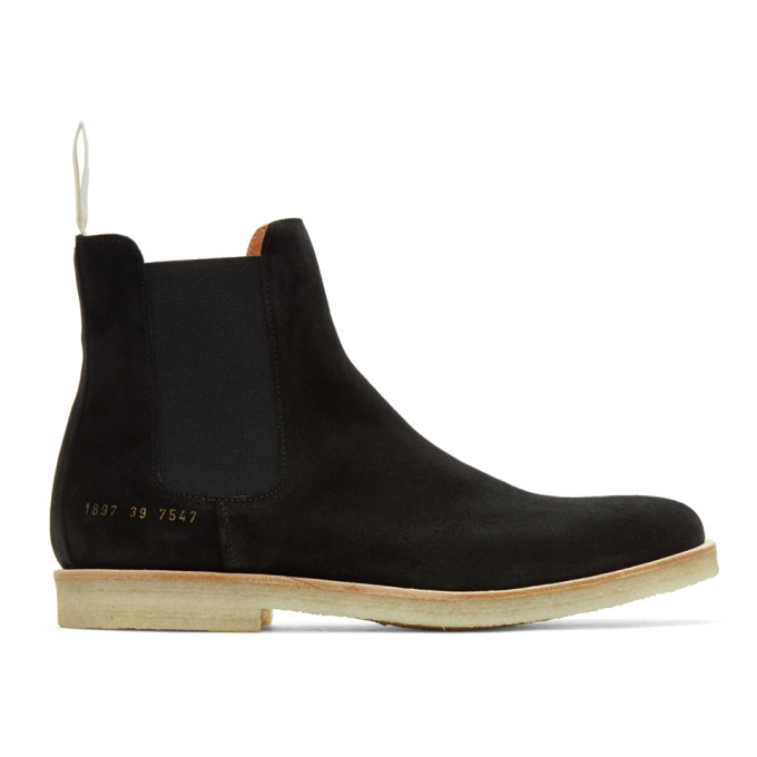 Image of Common Projects Black Suede Chelsea Boots