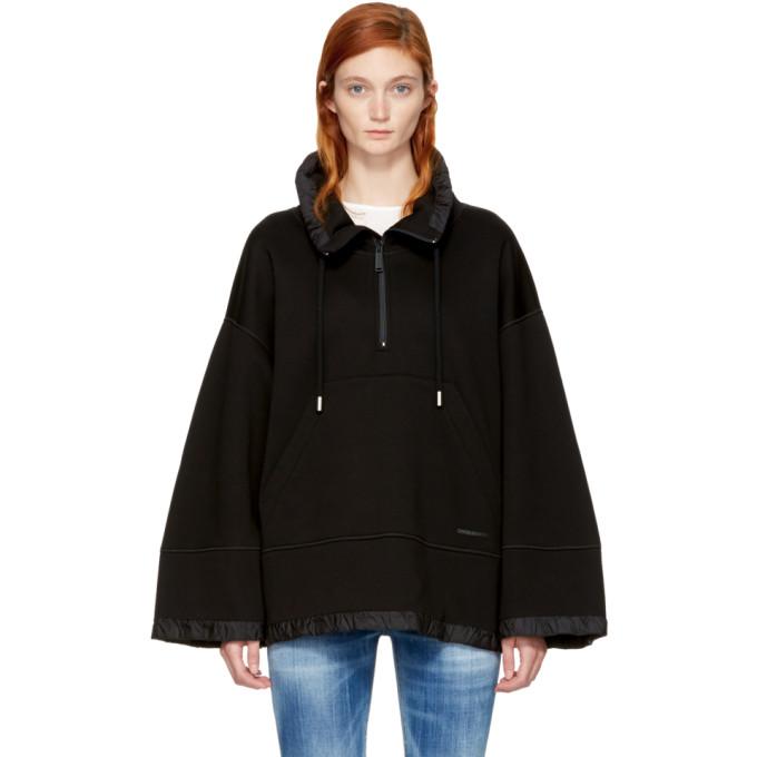 Dsquared2 Black Oversized Half-Zip Hoodie