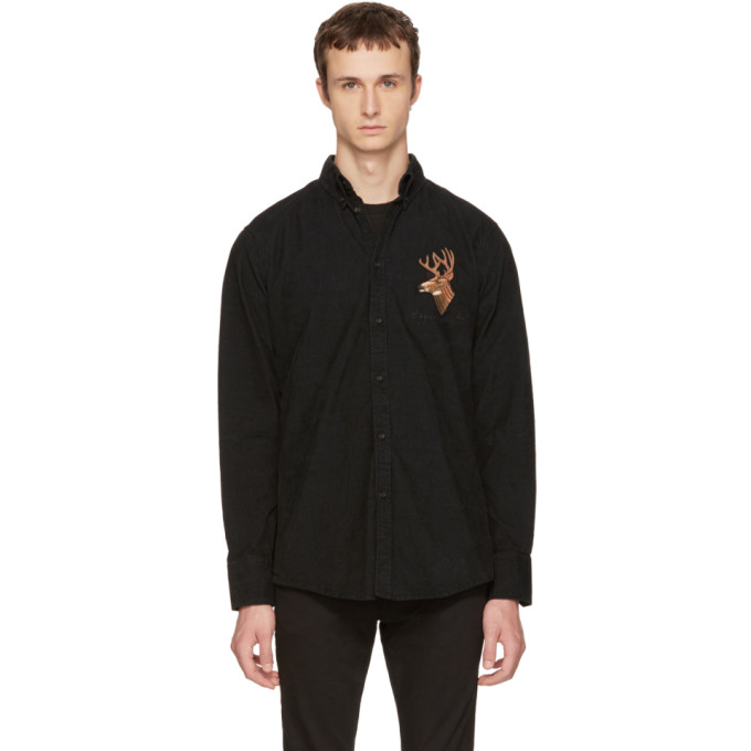 Dsquared2 Black Corduroy Reindeer Shirt