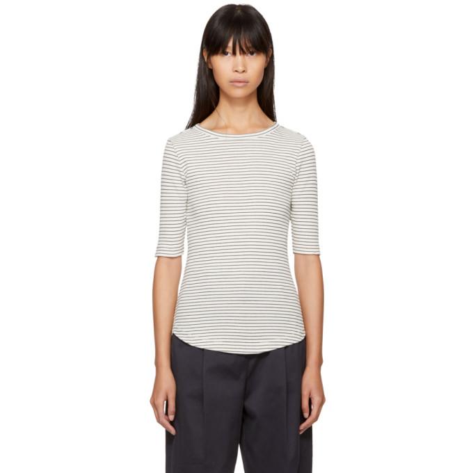 Image of YMC Ecru & Navy Striped Charlotte T-Shirt