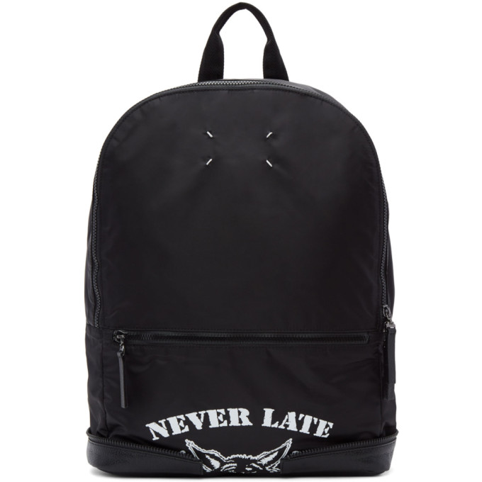 Maison Margiela Black Nylon 'Never Late' Backpack