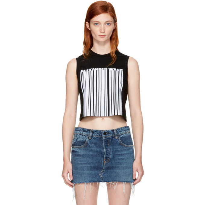 Alexander Wang Black Sleeveless Cropped Barcode T-Shirt