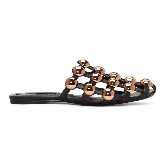 Image of Alexander Wang Black Amelia Cage Slippers