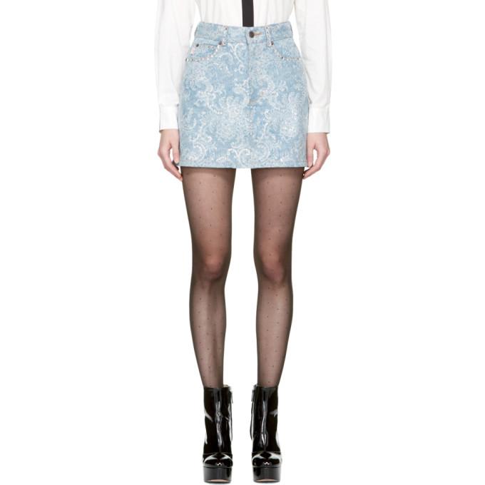 Marc Jacobs Indigo Embellished Denim Miniskirt
