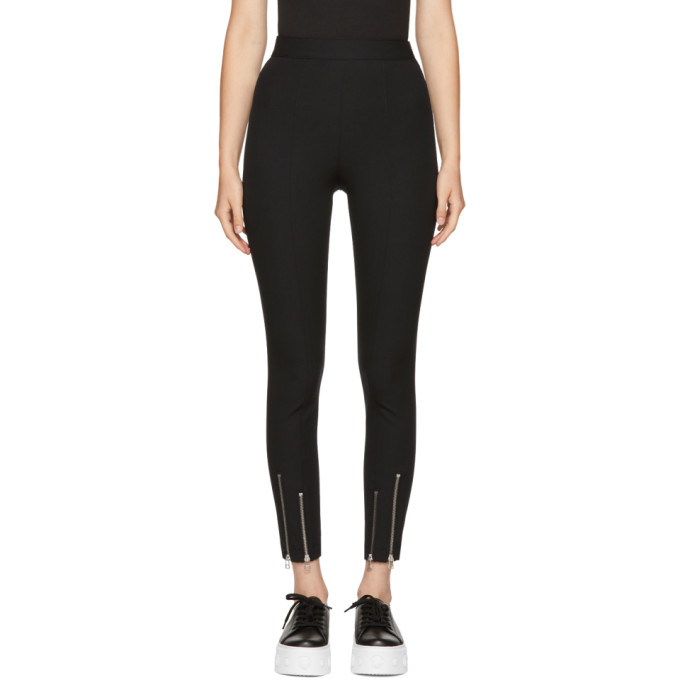 Image of T by Alexander Wang Black Ankle Zip Leggings