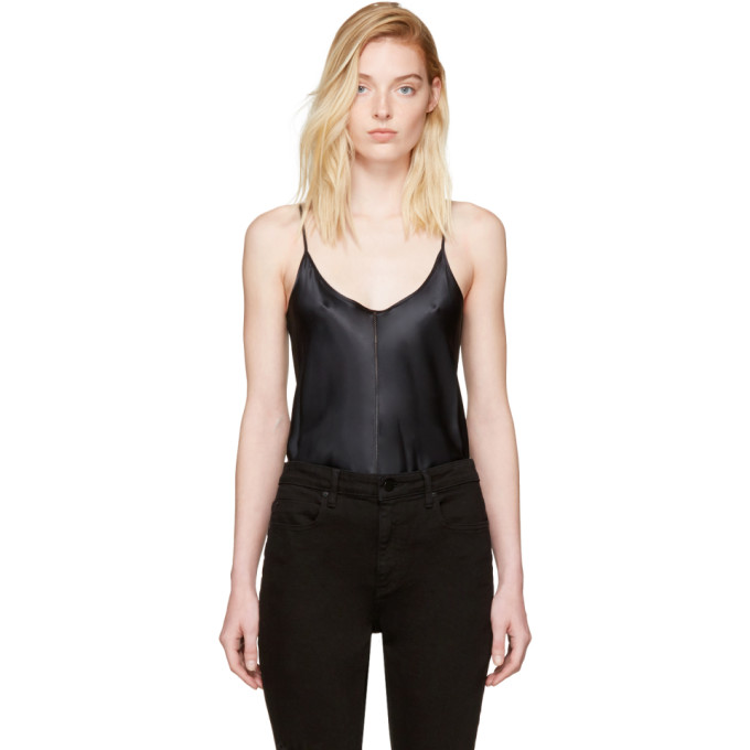 T by Alexander Wang Black Silk Charmeuse Cami Bodysuit
