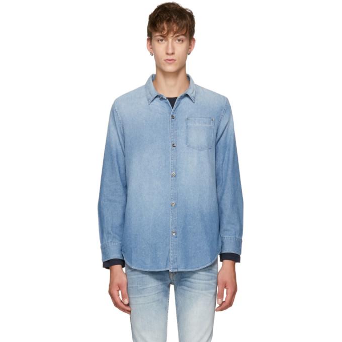 Image of Robert Geller Blue Five Year Fade Denim Shirt