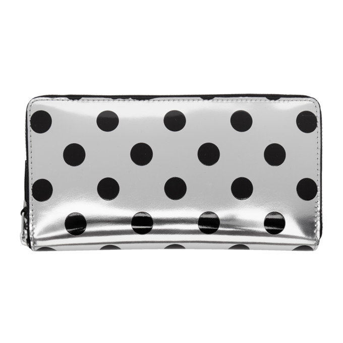 Comme des Gar�ons Wallets Silver & Black Polka Dot Continental Zip Wallet
