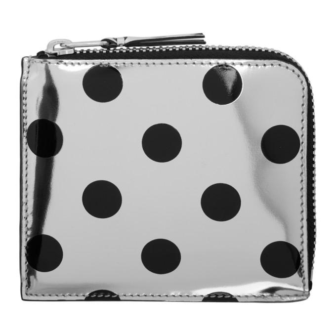 Image of Comme des Garçons Wallets Silver & Black Polka Dot Small Zip Wallet