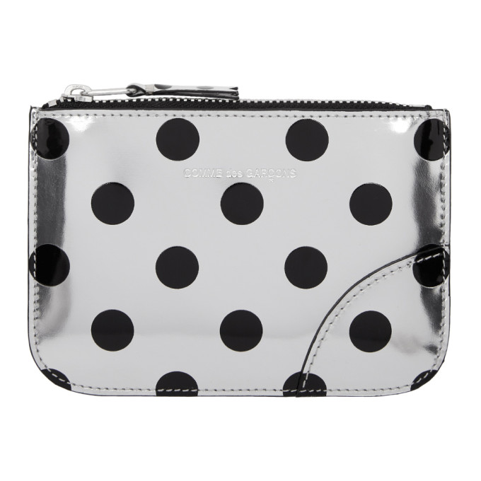 Image of Comme des Garçons Wallets Silver & Black Polka Dot Small Zip Pouch