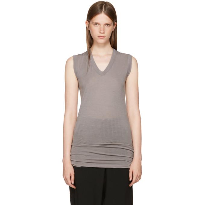 Rick Owens Grey Sleeveless V-Neck T-Shirt