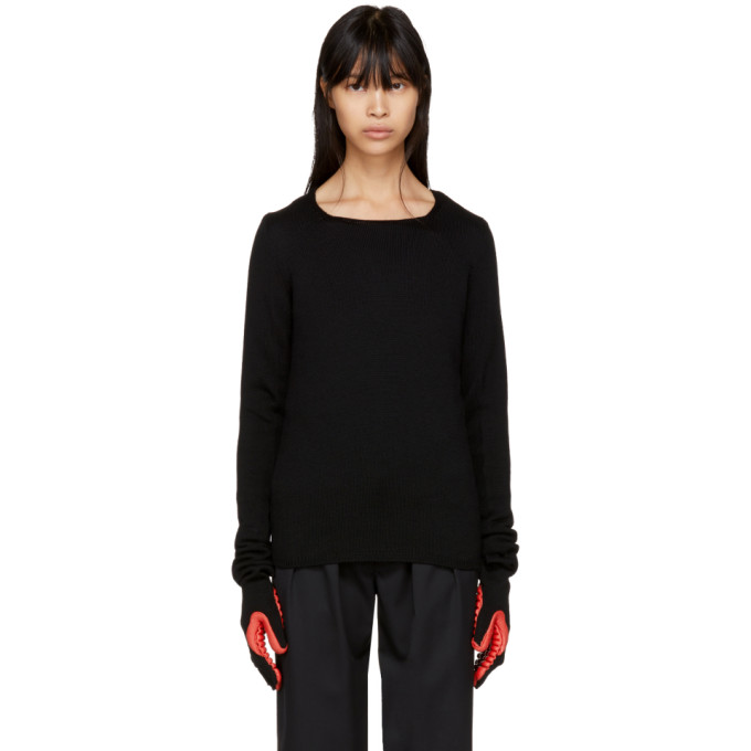 Image of Comme des Garçons Black & Red Rubber Glove Sleeve Sweater